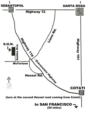 Map to Sonoma Horticultural Nursery